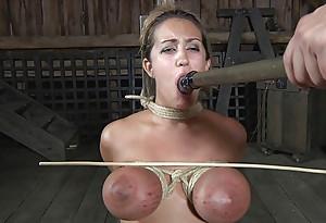 Busty slut punished and sucking cock
